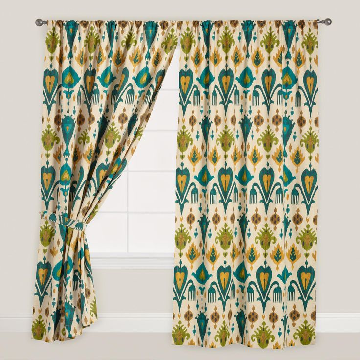 Gold And Teal Ikat Aberdeen Cotton Curtains Set Of 2 Colors Patterned Curtains And World