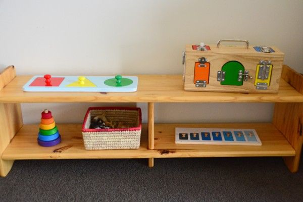 Storing toys the Montessori way Low shelf with Montessori