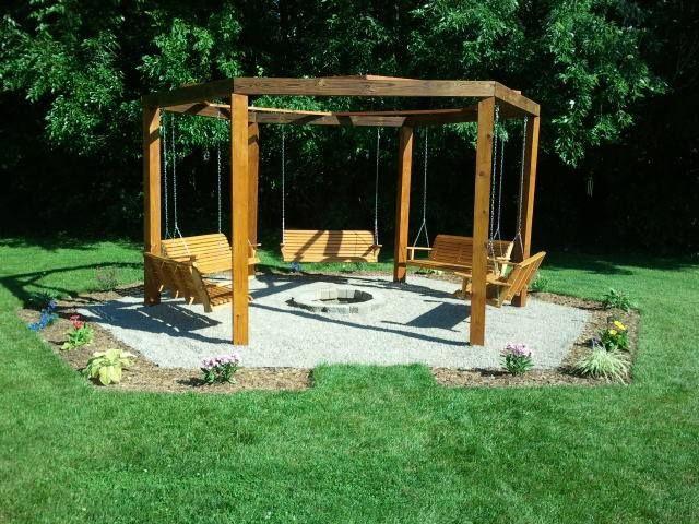Octagon five swing backyard swing fire pit  Cool