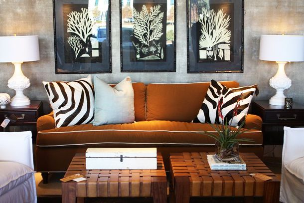 Brown sofas Silver grey wallpaper and Rust on Pinterest