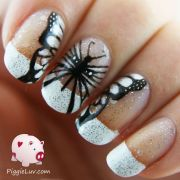 hand painted black & white butterfly