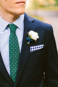 Blue/Green style; Navy suit, blue striped shirt, forest ...