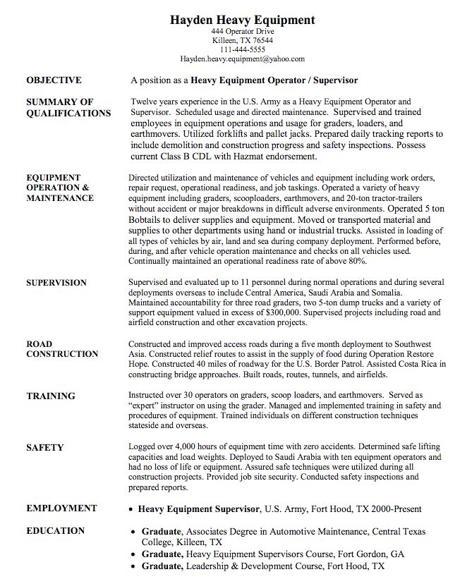 Heavy Equipment Operator Sample Resume