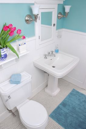I love the color of the wall (small bathroom ideas on a budget-previous pinner)