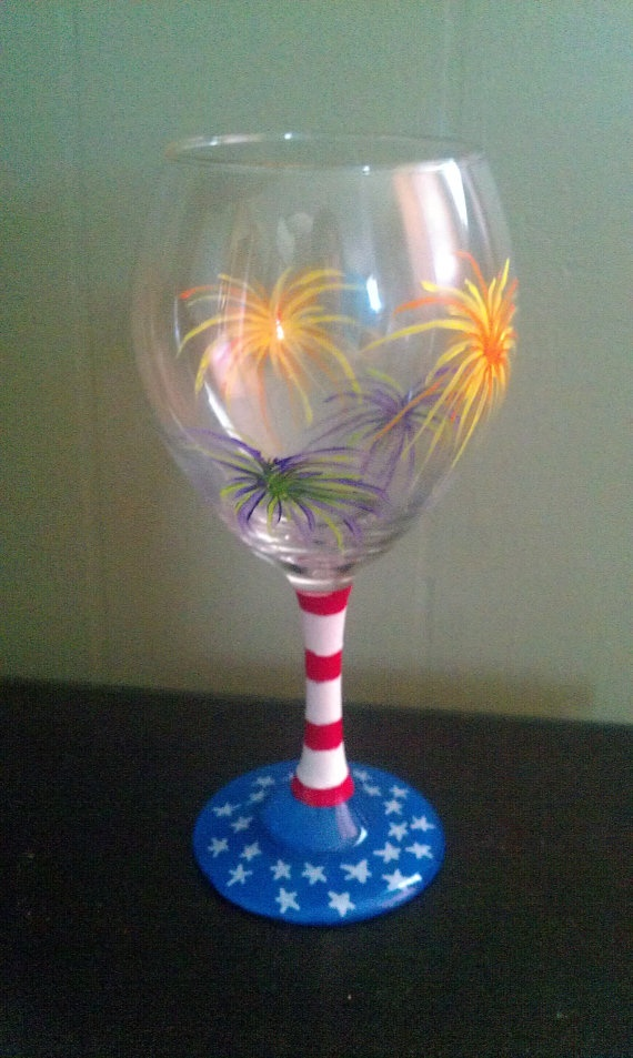Hand painted wine glass fourth of July labor day memorial