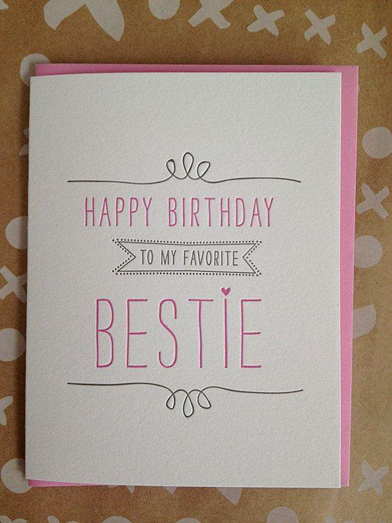Bestie Birthday Card Best Friend Letterpress Card 5 00