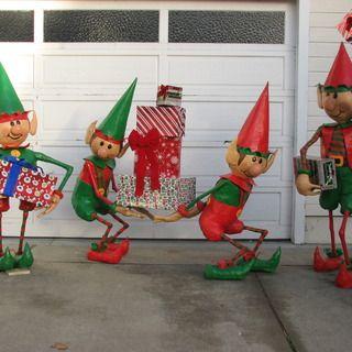 santas elves yard display