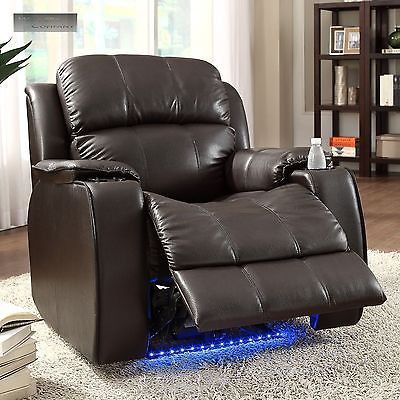 electric reclining chair ergonomic aeron power massager recliner cup holder with neon lights lazy boy barcalounger ...