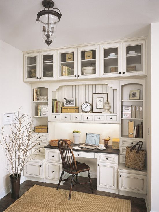 Traditional Home Office builtin could be done in a breakfast room too  Organizing  Home
