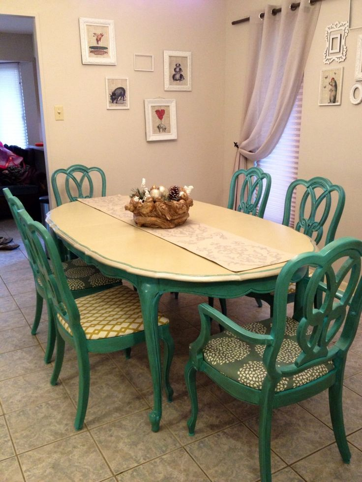 fabric to cover dining room chair seats executive office chairs antique 1960s turquoise table and / painted set. $1,650.00, via etsy. | for the ...