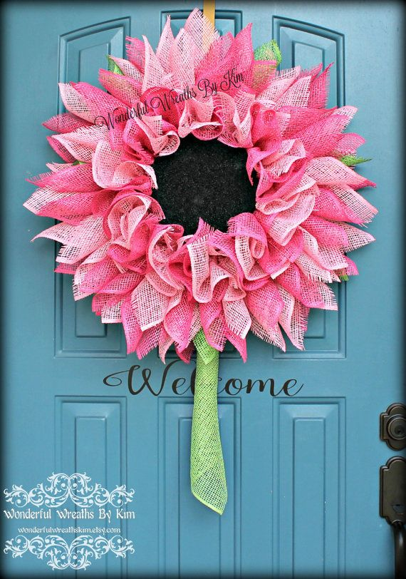 25 Best Ideas About Burlap Flower Wreaths On Pinterest