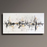 """75"""" Large ORIGINAL ABSTRACT Black White Gray Gold Painting ..."""
