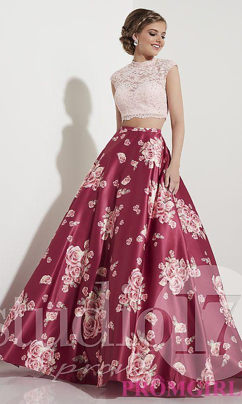 Rose Wine Pink TwoPiece Prom Dress with Print  Pandora