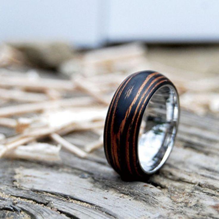 Titanium Wood Wedding Band Ring with Ebony  Mahogany by