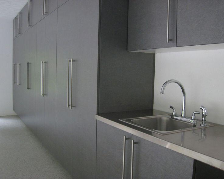 Garage storage cabinet design that includes stainless sink