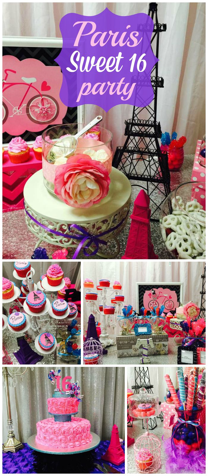 A Paris Themed Sweet 16 Girl Birthday Party In Pink And