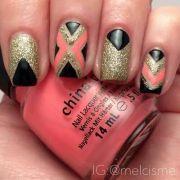 coral black and gold nail art