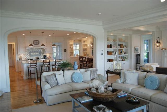 kitchen semiopen to family room  Coastal Cottage Design Ideas  Pinterest  The shape Living