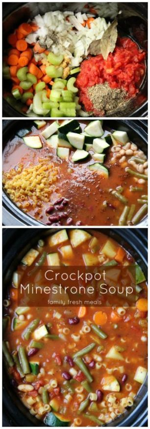 Crockpot Minestrone Soup - FamilyFreshMeals.com - this looks delicious and filling.: