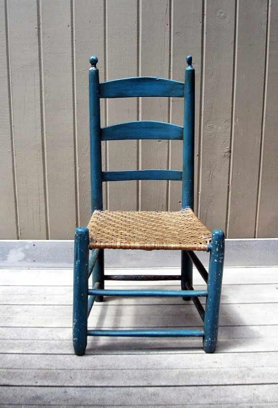 Vintage Primitive Ladder Back Chair with Woven Rush Seat