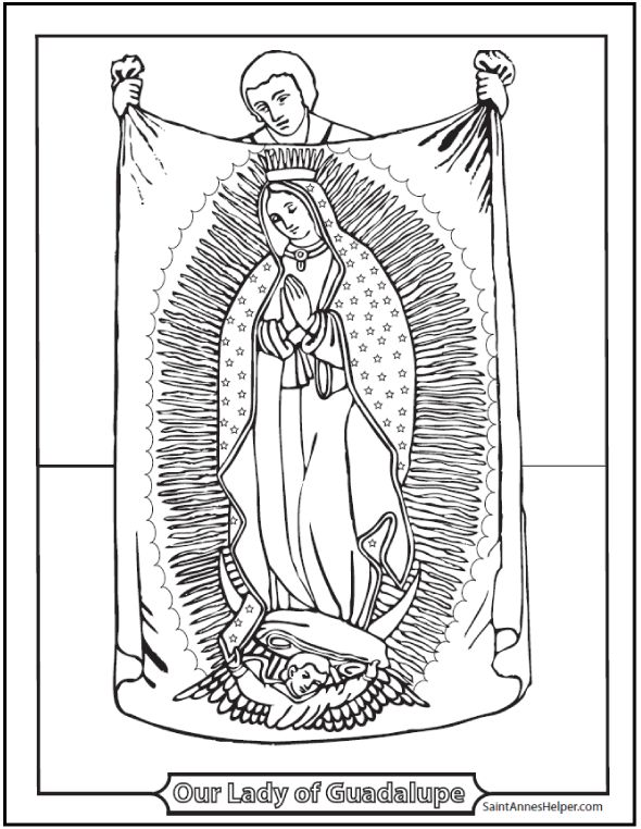 Beautiful Our Lady of Guadalupe coloring page! Includes