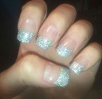 Silver glitter French tip acrylic nails | Nails ...