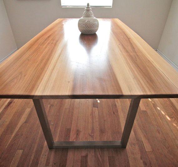 Minimalist Modern Industrial Office Desk or Dining Table  Sun Tanned Poplar  Steel Base Legs