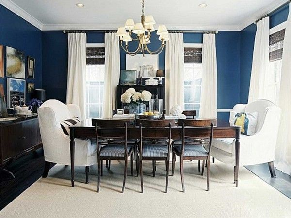 Dining Room: Navy Blue Accent Wall, With White, Green, And