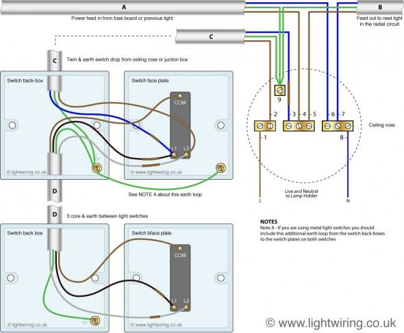 wiring diagram of a two way and intermediate lighting circuit 99 honda accord fuse box two-way switching (3 wire system, new harmonised cable colours) | light u.k. ...