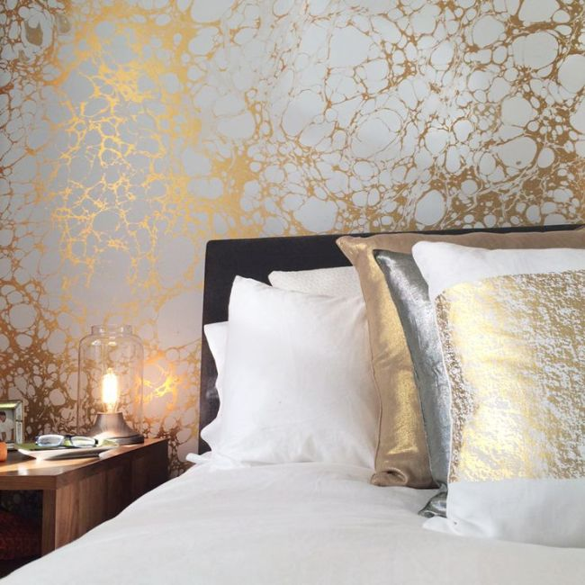 Calico Wallpaper Wabi Bedroom #marbled #marble #wallpaper ...