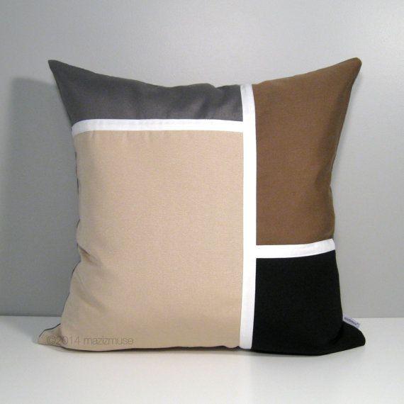 Modern Outdoor Pillow Cover Brown Grey Color Block