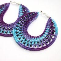 Crochet Earrings 60mm Beach party Purple Big by