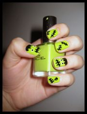 frankenstein nails nail art
