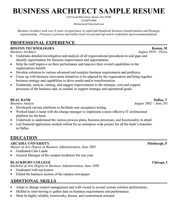 Technical Architect Cv Sample, Work Experience, Key Skills And