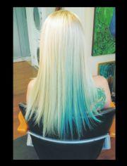 platinum blonde with turquoise
