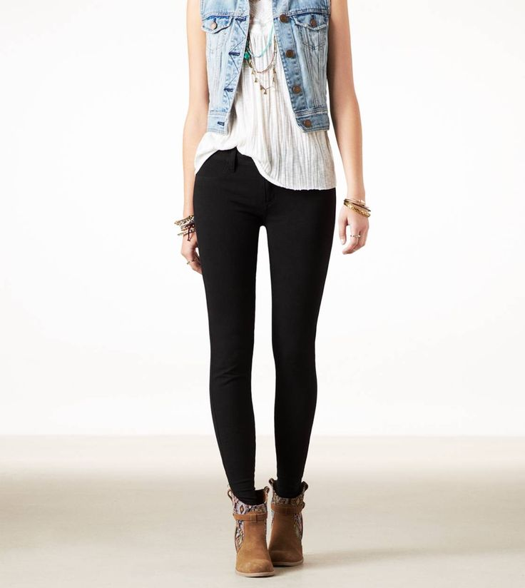 This outfit, except with jean jacket not vest, and turquoise pendant necklace. :) Great for fall.