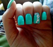 tiffany blue nails with rhinestones