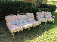 Vintage wrought iron Patio Furniture Couch~Chair~Rocker w ...