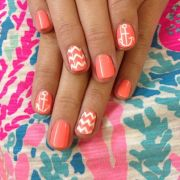 coral chevron nails ideas