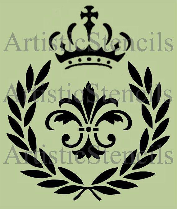 STENCIL Laurel Wreath Fleur De Lis With Crown By