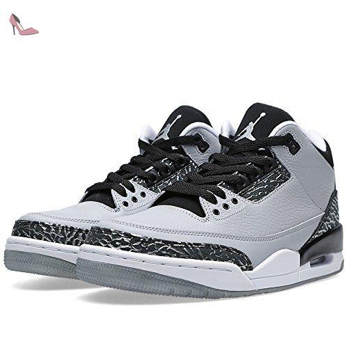 nike air jordan retro chaussures de sport homme gris argente noir