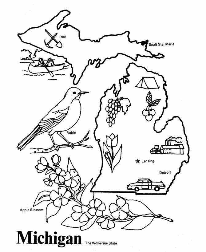 Michigan State outline Coloring Page. Copy the image and
