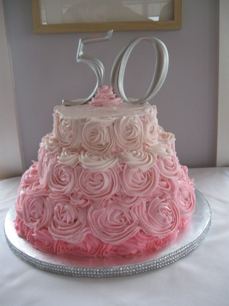 50th Numbers From I Party Rose Swirl Buttercream Cake 3