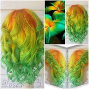 orange yellow green hair neon