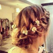 cute french braid updo - bridesmaid