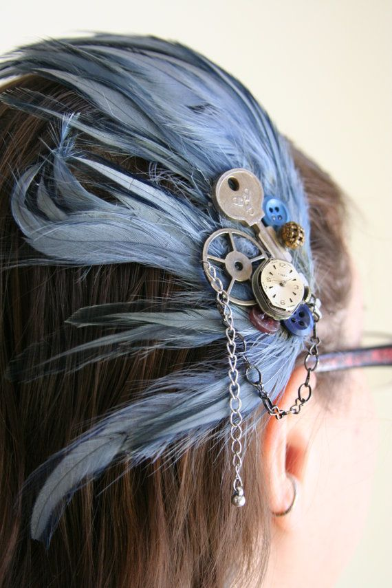 Steampunk Fascinator Blue Feather Head Piece Made With