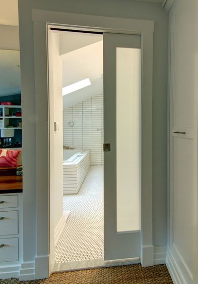 Pocket Door With Frosted Glass Home Guest Bath