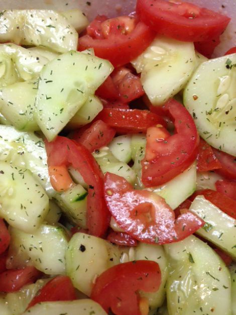 So simple and so delicious!! You will need: 2 cucumbers-peeled and sliced or quartered 5 Roma tomatoes-quartered 2 tablespoons extra virgin olive oil 1 tablespoons rice vinegar Dill seasoning and