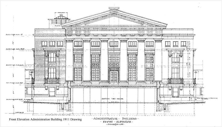 A construction drawing of the Peter Bent Brigham Hospital