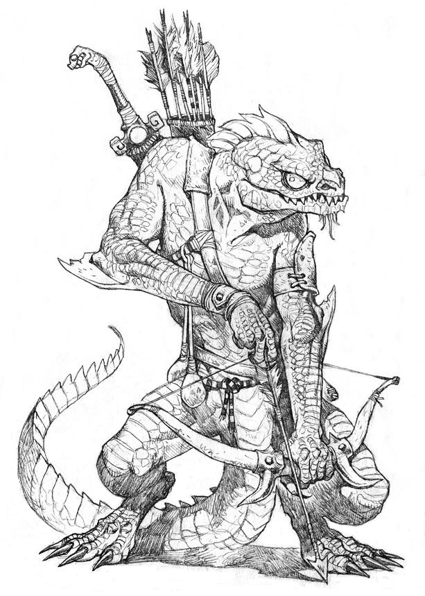 Lizard man troglodyte archer ranger fighter monster beast
